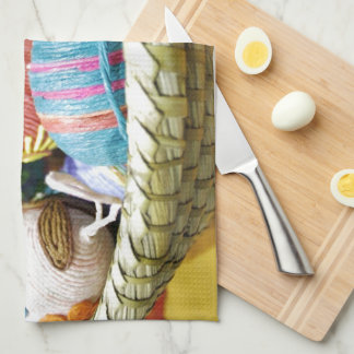 Colorful Yarn Decorated Easter Eggs Hand Towels