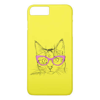 Colorful Yellow and Pink Hipster Cat iPhone 7 Plus Case
