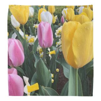 Colorful Yellow and Pink Tulips Fashion Bandana