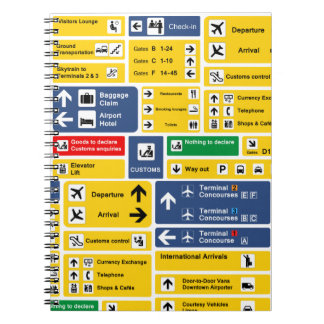 Colorful Yellow Blue Airport Signs Boards Notebook
