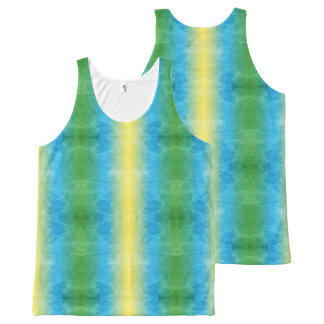 Colorful Yellow Green Blue Tie Dyed Grunge Rainbow All-Over Print Singlet