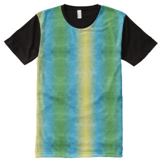 Colorful Yellow Green Blue Tie Dyed Grunge Rainbow All-Over Print T-Shirt