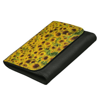 Colorful Yellow Sunflowers, Black Leather Wallet