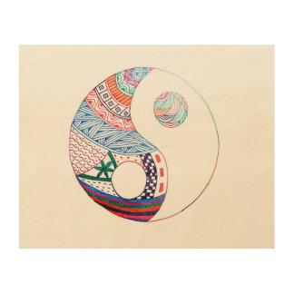 Colorful ying yang,spiritual wood wall decor