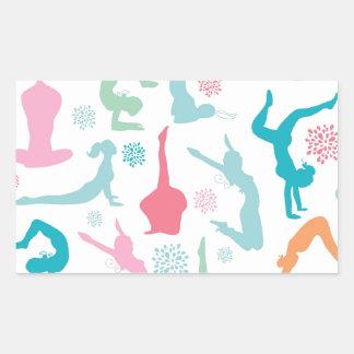 Colorful yoga poses pattern rectangular sticker