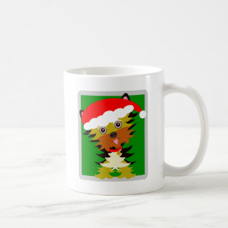Colorful Yorkshire Terrier Cartoon Santa Hat Coffee Mug