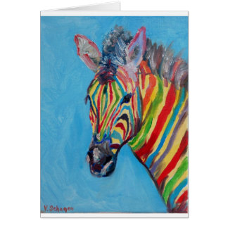 Colorful zebra card