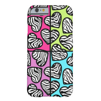 Colorful zebra hearts iPhone 6 case Barely There iPhone 6 Case