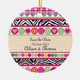 Colorful Zebra hearts 'Save the date' Ornament