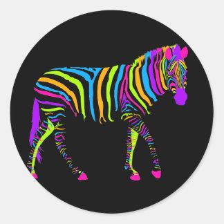 Colorful Zebra Round Sticker