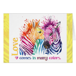 Colorful Zebras Greeting Card