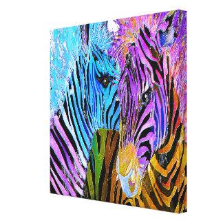 Colorful Zebras #Large Watercolor Art Canvas Print