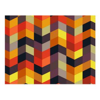 Colorful zig zag pattern postcard