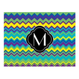 Colorful zig zag pattern with monogram postcard
