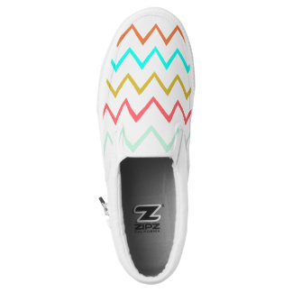 Colorful Zig Zag Unisex Slip On Shoes Printed Shoes