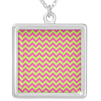Colorful Zigzag Geometric in Pink and Green Square Pendant Necklace