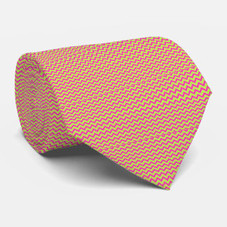 Colorful Zigzag Geometric in Pink and Green Tie