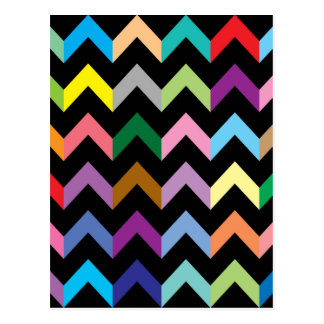 Colorful zigzag pattern postcard