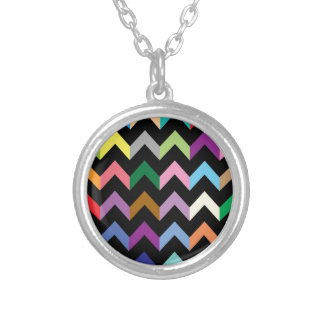 Colorful zigzag pattern silver plated necklace