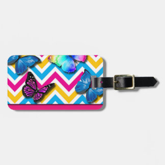 Colorful Zigzag With Butterflies Luggage Tag