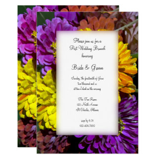 Colorful Zinnia Flowers Post Wedding Brunch Invite