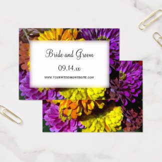 Colorful Zinnia Flowers Wedding Website Cards