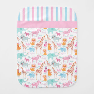 Colorful Zoo Animals Burp Cloth