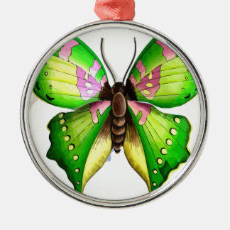 Colorfull Butterfly Silver-Colored Round Decoration