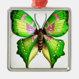 Colorfull Butterfly Silver-Colored Square Decoration