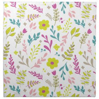 Colorfull flowers on white napkin