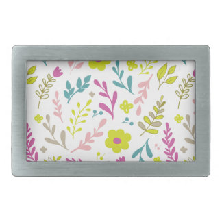 Colorfull flowers on white rectangular belt buckle