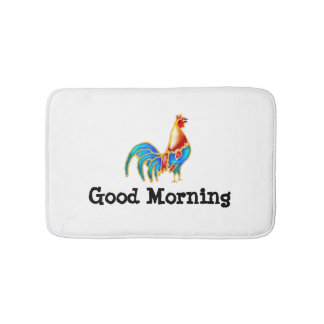 colorfull Rooster good morning Bath Mats