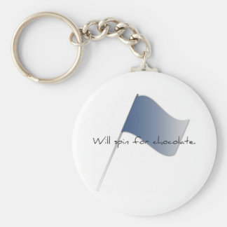 """Colorguard """"Will spin for chocolate."""" Basic Round Button Key Ring"""