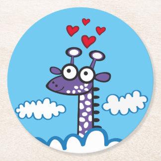Colorida Jirafa. Giraffe. Round Paper Coaster