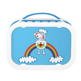 Colorida Oveja Tejedora. Sheep. Arcoiris, rainbow. Lunch Boxes
