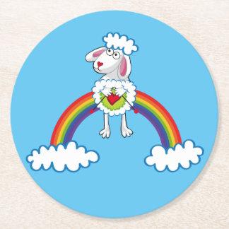 Colorida Oveja Tejedora. Sheep. Arcoiris, rainbow. Round Paper Coaster