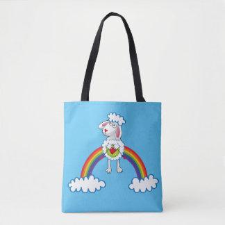 Colorida Oveja Tejedora. Sheep. Arcoiris, rainbow. Tote Bag