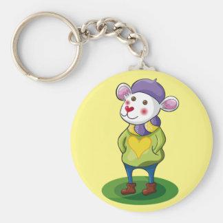 Colorido Ratón. Mouse. Basic Round Button Key Ring