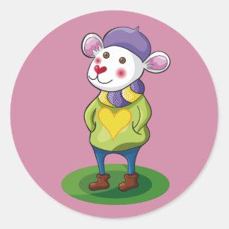 Colorido Ratón. Mouse. Round Sticker