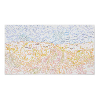 Coloring Page - Wheatfields With Crows an Gogh Poster