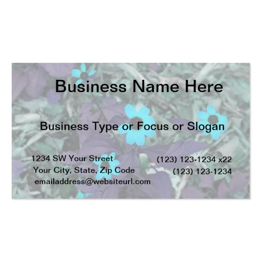 colorized blue flowers neat plant business card template