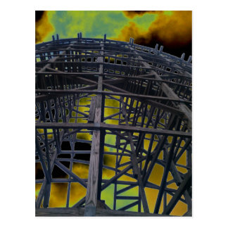 Colorized Evil Wooden Coaster Postcard
