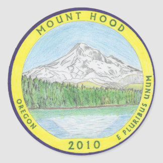 Colorized Mt. Hood Quarter stickers