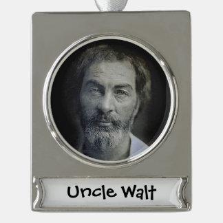 Colorized Walt Whitman Portrait Silver Plated Banner Ornament