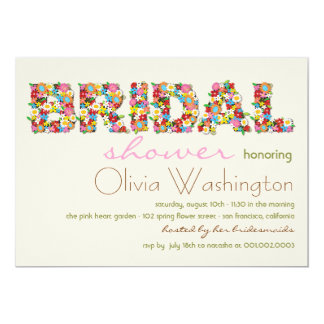 "Colors Bridal Spring Flowers Bridal Shower Invite 5"" X 7"" Invitation Card"