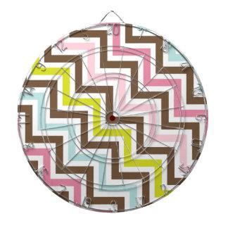 Colors Diagonal Zigzag Chevron Pattern Dartboards