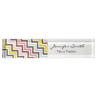 Colors Diagonal Zigzag Chevron Pattern Desk Nameplates