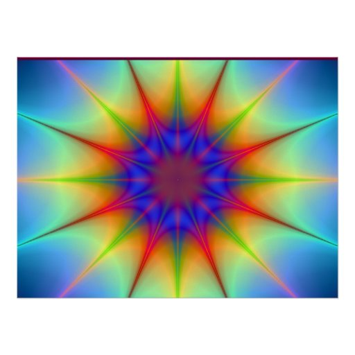 Colors In The Shape Of An Atom In Space Poster