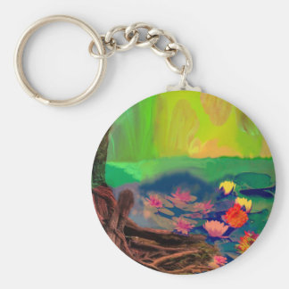 Colors invade the sky, the lilies cover the pond. basic round button key ring