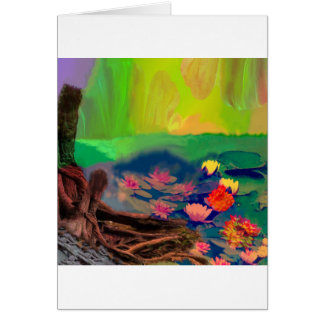 Colors invade the sky, the lilies cover the pond. card